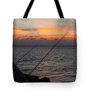 Fishing At Sunset Tote Bag