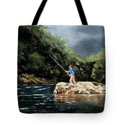 Fishing At  The Crack Of Dawn Tote Bag