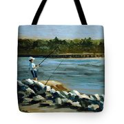 Fishing At The Point Tote Bag