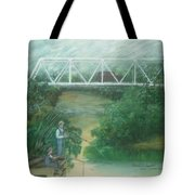 Fishing At The Pump House On White Oak Creek Tote Bag