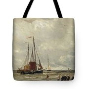 Fishing Barges At Low Tide Tote Bag
