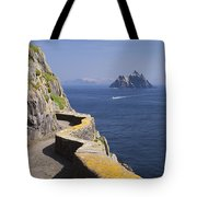 Fishing Boat Approaching Skellig Michael, County Kerry, In Spring Sunshine, Ireland Tote Bag