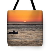 Fishing Boat At Sunrise. Tote Bag