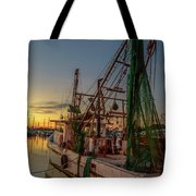 Fishing Boat At Sunset Tote Bag