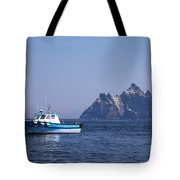 Fishing Boat Near Little Skellig, County Kerry, In Spring Sunshine, Ireland Tote Bag