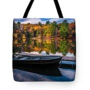 Fishing Boat On Mirror Lake Tote Bag