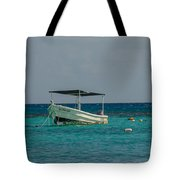 Scuba Boat On Turquoise Water Tote Bag