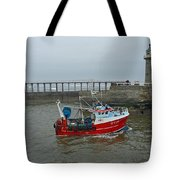 Fishing Boat Wy110 Emulater - Entering Whitby Harbour Tote Bag
