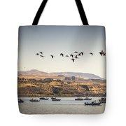Fishing Boats And Blue Herons Tote Bag