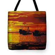 Fishing Boats At Sunset Tote Bag