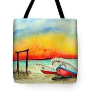 fishing boats Corozal Belize Tote Bag