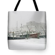 Fishing Boats During Winter Storm Sandwich Cape Cod Tote Bag