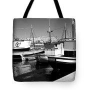 Fishing Boats Monochrome Tote Bag