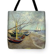 Fishing Boats On The Beach Tote Bag
