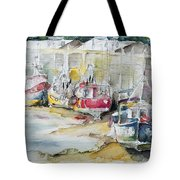Fishing Boats Settled Aground During Ebb Tide Tote Bag