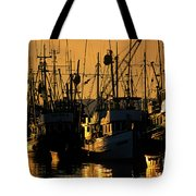 Fishing Boats Sunset Light Tote Bag