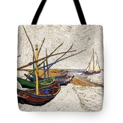 Fishing Boats Van Gogh Digital Art Tote Bag