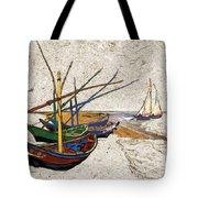 Fishing Boats Van Gogh Digital Art Tote Bag