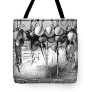 Fishing Buoys In Black And White Tote Bag