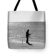 Fishing In Black And White Tote Bag