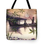 Fishing In The Sunset   Tote Bag