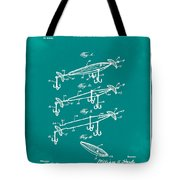 Fishing Lure Patent 1904 Green Tote Bag