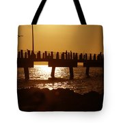 Fishing Off The Pier At Fort De Soto At Dusk Tote Bag
