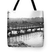 Fishing Pier And Train Tracks Tote Bag