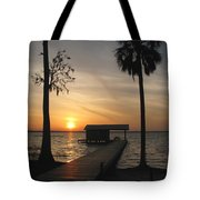 Fishing Pier At Dusk Tote Bag