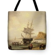 Fishing Scene, Teignmouth Beach And The Ness, 1831 Tote Bag