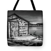 Fishing Shack And Wharf In Norris Point, Newfoundland Tote Bag
