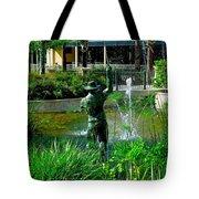 Fishing Statue Tote Bag