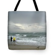 Fishing Through The Storm - Diamond Shoals Nc Tote Bag