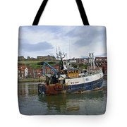 Fishing Trawler Wy 485 At Whitby Tote Bag by Rod Johnson