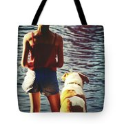 Fishing With The Pup Tote Bag