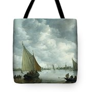 Fishingboat In An Estuary Tote Bag by Jan Josephsz van Goyen