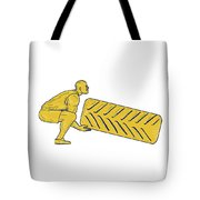 Fitness Athlete Squatting Lifting Tire Drawing Tote Bag