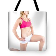 Fitness Woman Stretching Over White Tote Bag
