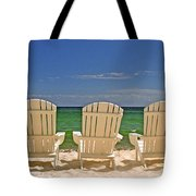 Five Chairs On The Beach Tote Bag