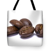 Five Coffee Beans Isolated On White Tote Bag