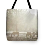 Five Horses In The Mist Tote Bag