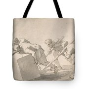 Five Men Pushing A Block Of Stone Tote Bag