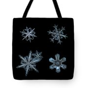 Five Snowflakes On Black 3 Tote Bag