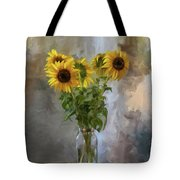 Five Sunflowers Centered Tote Bag by Lois Bryan