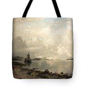 Fjord Landscape With Figures Tote Bag