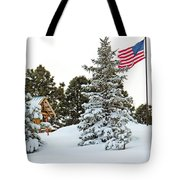 Flag And Snowy Pines Tote Bag