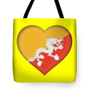 Flag Of Bhutan Heart Tote Bag