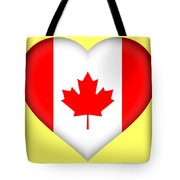 Flag Of Canada Heart Tote Bag