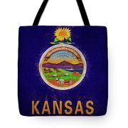 Flag Of Kansas Grunge Tote Bag