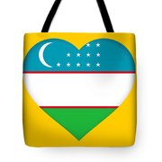 Flag Of Uzbekistan Heart Tote Bag